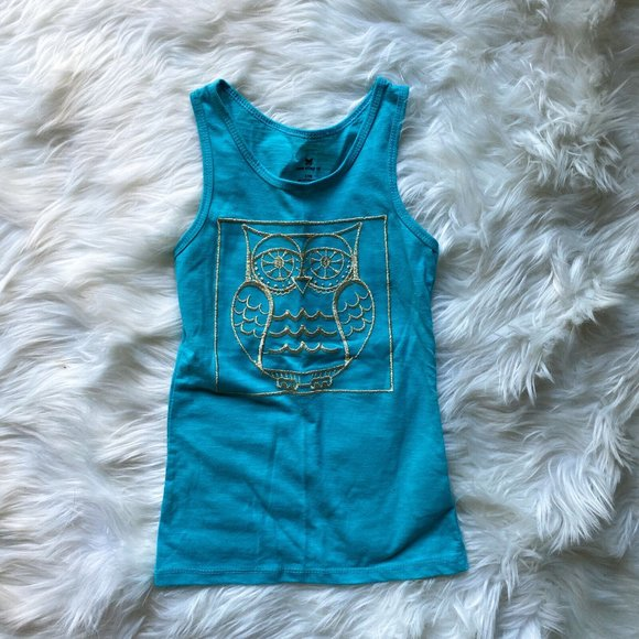 One Step Up Bright Blue Gold Owl Tank Top Size S
